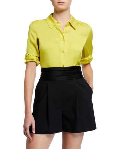 Image 1 of 3: Samson Silk Button-Down Blouse