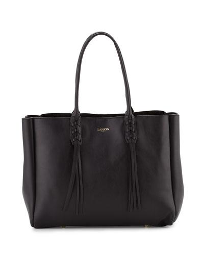 Leather Medium Fringe Tote Bag, Black