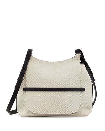 Sideby Canvas Shoulder Bag, Natural/Black