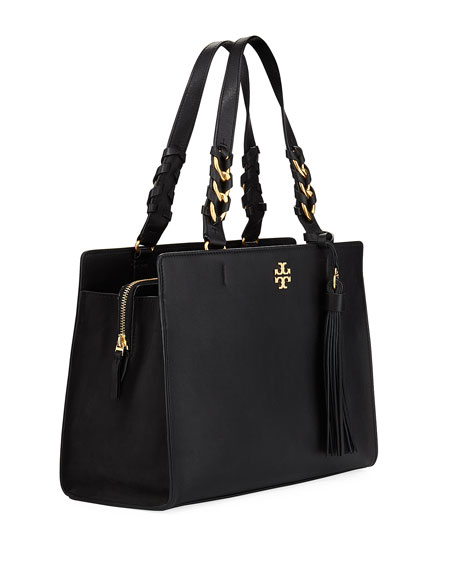 Brooke Smooth Leather Satchel Bag by Tory Burch
