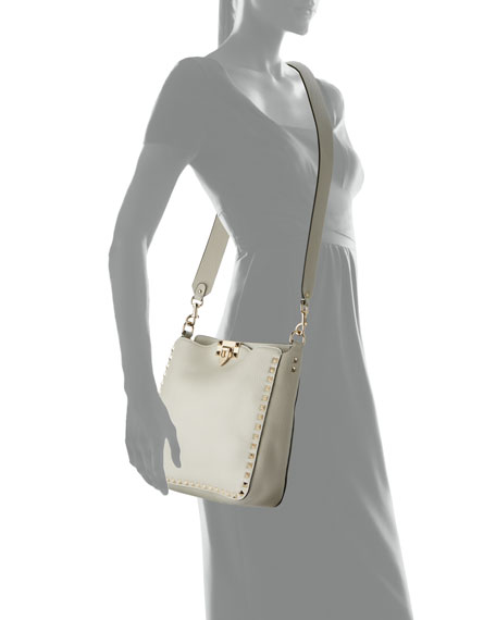 Image 4 of 4: Valentino Garavani Rockstud Small Vitello Leather Hobo Bag