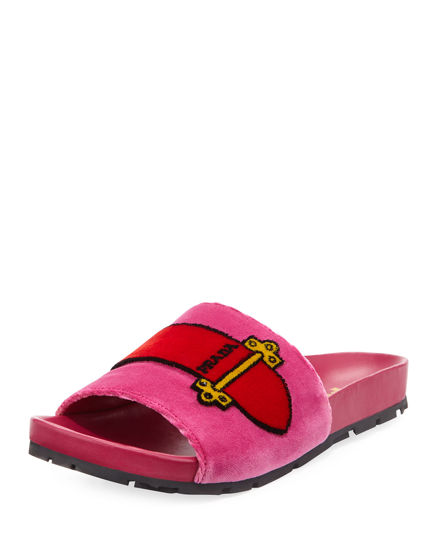 751ce2d0ae96 Prada Velvet Slide Sandal