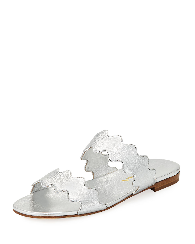 b6dccbb9bb477 Prada Scalloped Metallic Flat Two-Band Slide Sandal | Neiman Marcus