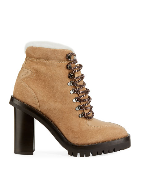 Image 2 of 3: Trekking Fur-Lined Platform Hiker Ankle Boot