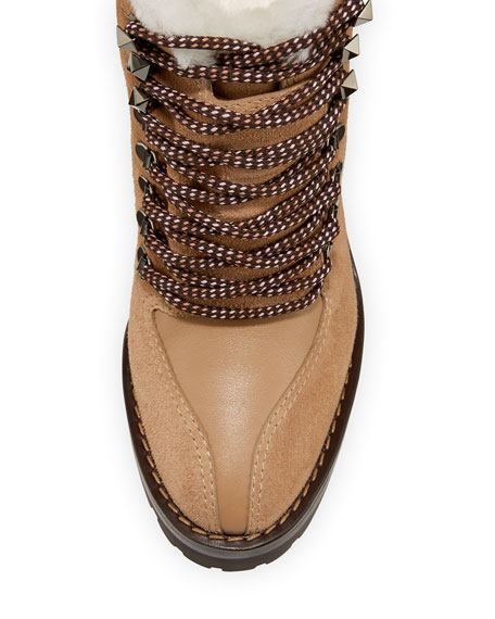 Image 3 of 3: Trekking Fur-Lined Platform Hiker Ankle Boot
