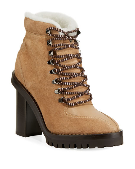 Image 1 of 3: Trekking Fur-Lined Platform Hiker Ankle Boot