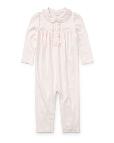 Ruffle-Trim Pima Jersey Coverall, Size 3-12 Months
