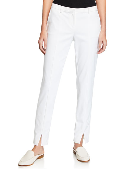 St. John Collection Stretch Micro Ottoman Ankle Pants, Bianco