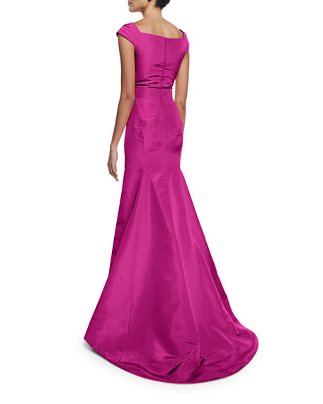 Cap-Sleeve Notched-Neck Gown