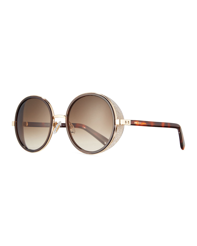 4b3ccb791c1 Jimmy Choo Andie Round Glitter-Trim Sunglasses