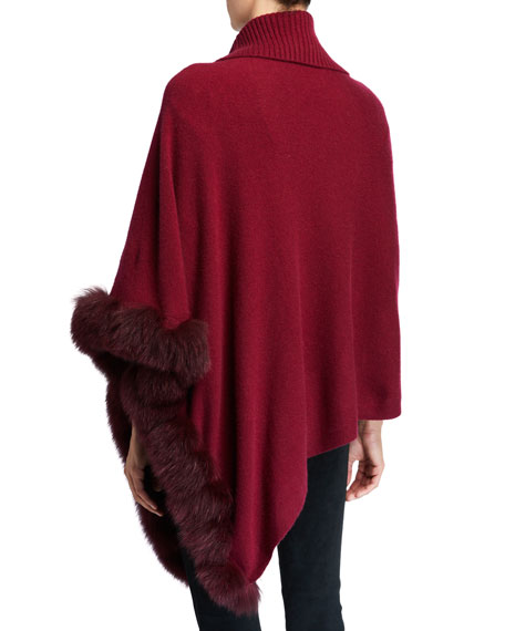 Image 3 of 3: Cashmere Turtleneck Poncho w/ Fur Trim