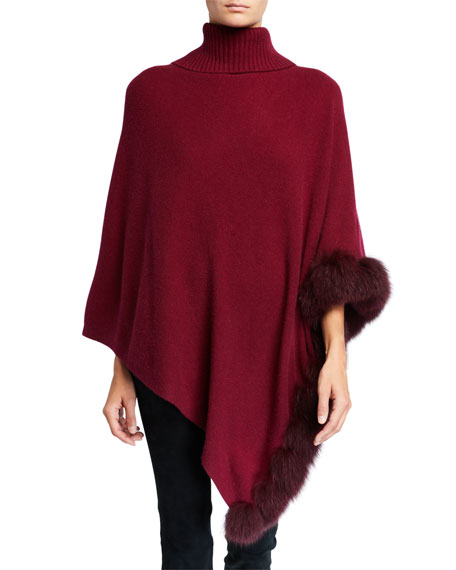 Image 1 of 3: Cashmere Turtleneck Poncho w/ Fur Trim