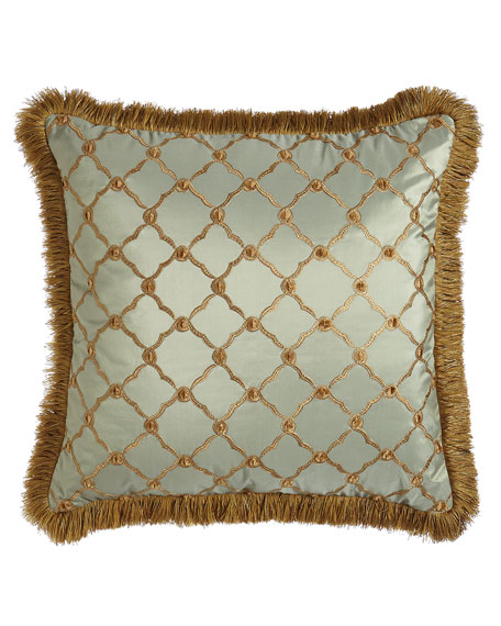 """Dian Austin Couture Home Tuscan Trellis Square Pillow with Brush Fringe, 20""""Sq."""