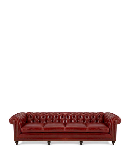"Massoud Davidson 119"" Four-Cushion Chesterfield Sofa"