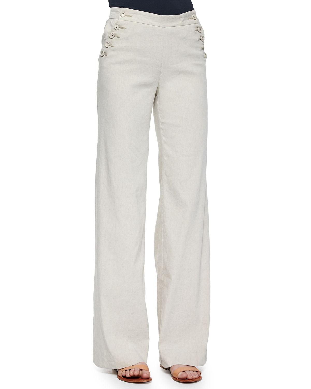 c75fe52ed3092 Theory Alrigo High-Waisted Linen Pants | Neiman Marcus