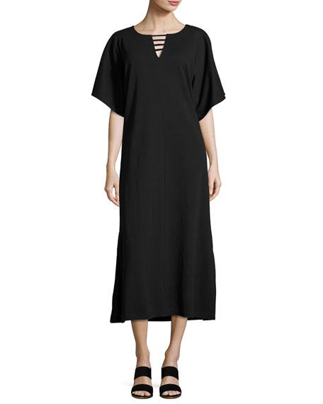 Joan Vass Long Dolman Sleeve Dress W Lattice Detail Plus Size