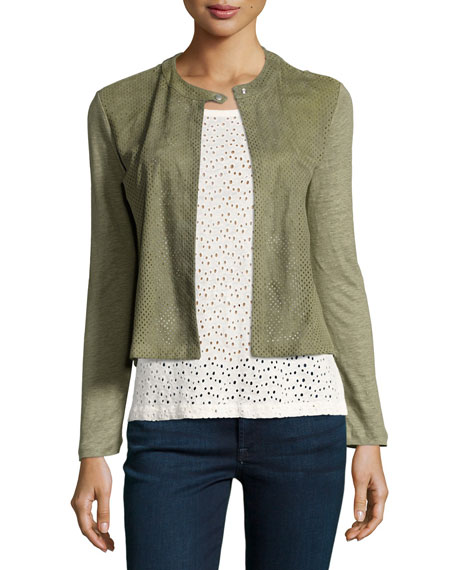 Perforated Suede & Linen Combo Cardigan