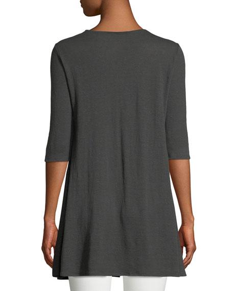 3/4-Sleeve Organic Linen Jersey Top