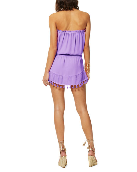 Image 3 of 3: Ramy Brook Marcie Strapless Coverup Dress with Pompoms