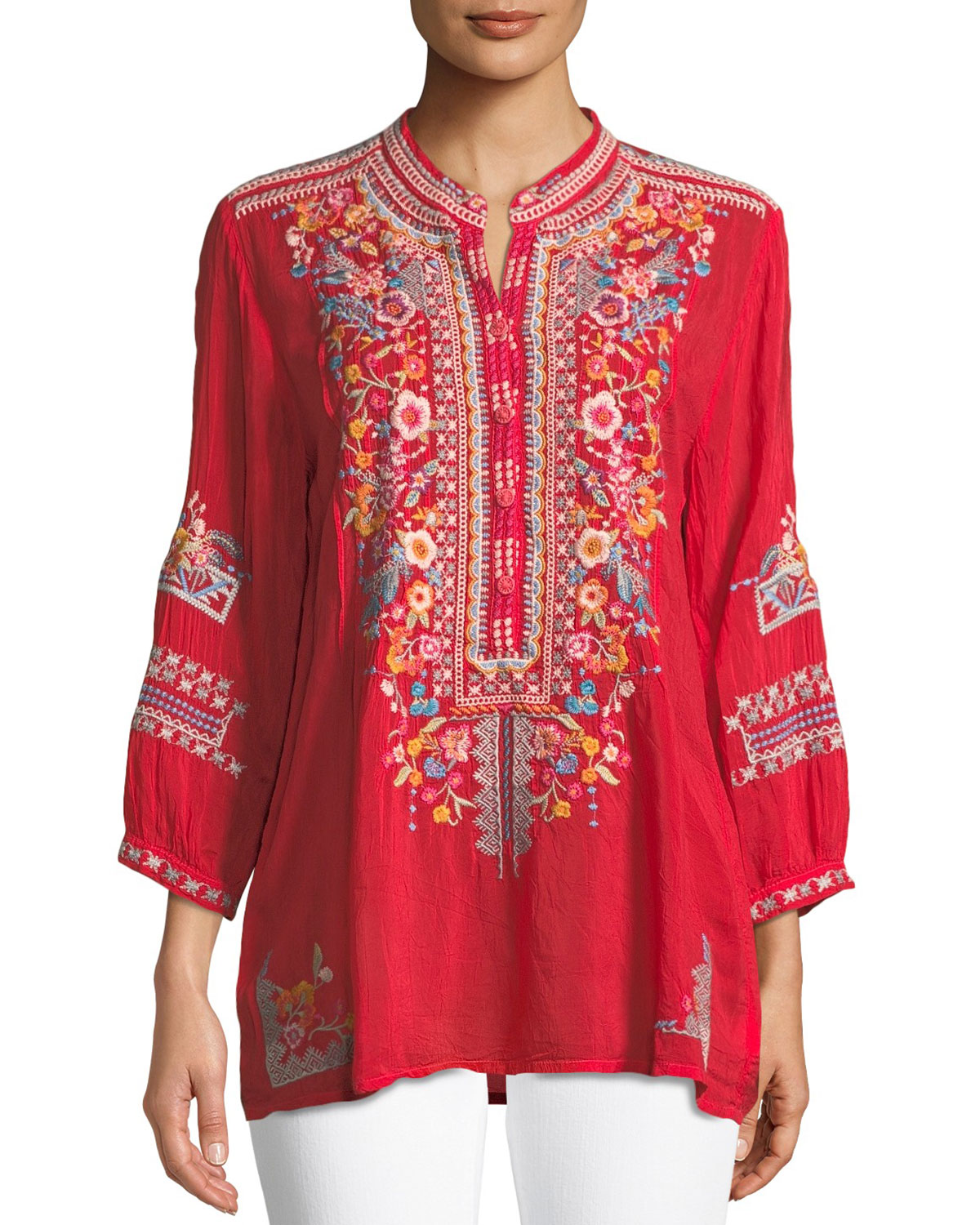ff620071cf289 Johnny Was Bethanie 3 4-Sleeve Embroidered Tunic