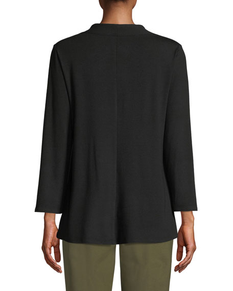 Image 2 of 3: Eileen Fisher V-Neck Bracelet-Sleeve Jersey Top
