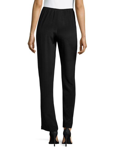 Image 2 of 2: Caroline Rose Silk Crepe Straight-Leg Pants