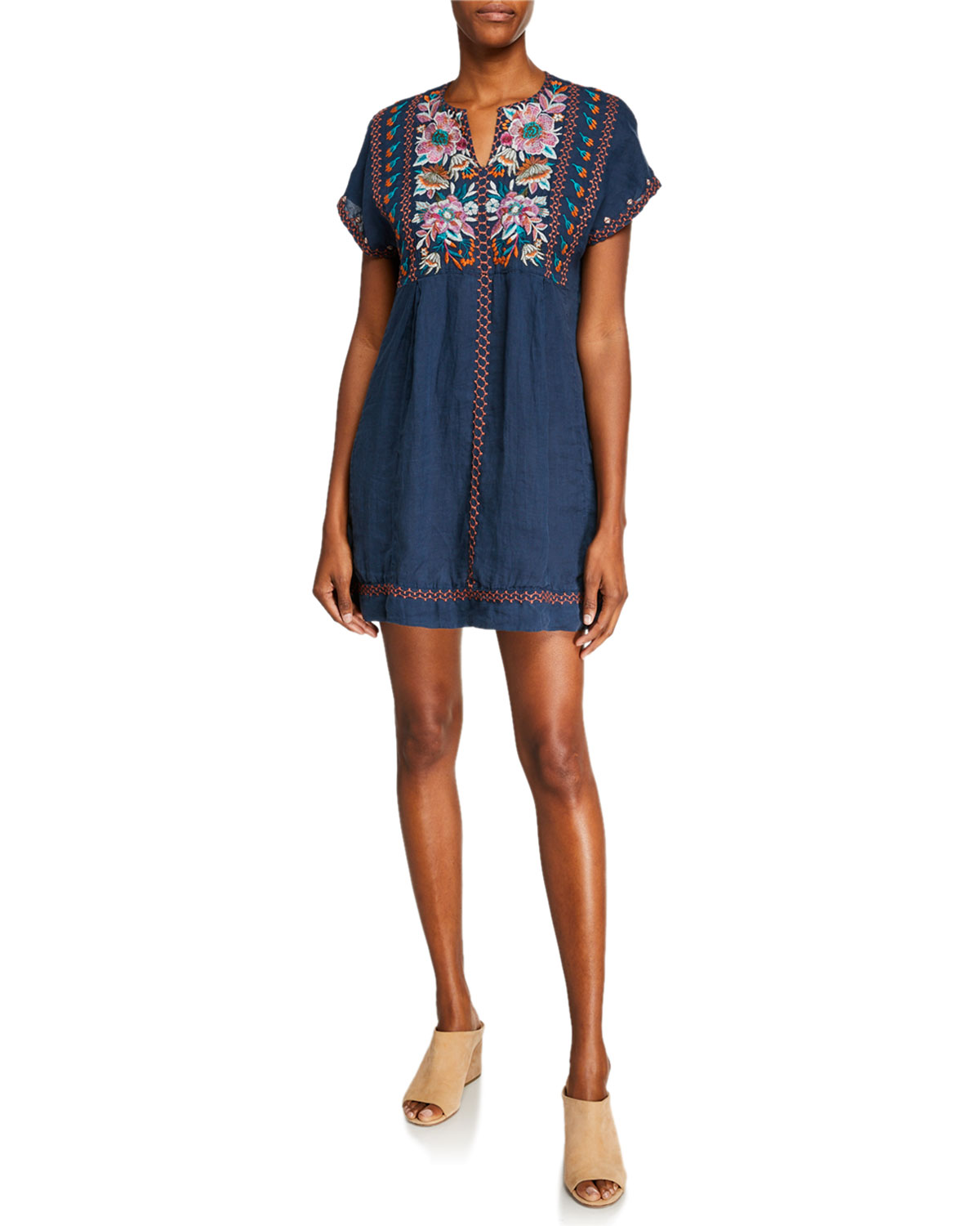 360bbcd9d63 Johnny Was Nena Embroidered V-Neck Poncho Tunic Dress | Neiman Marcus