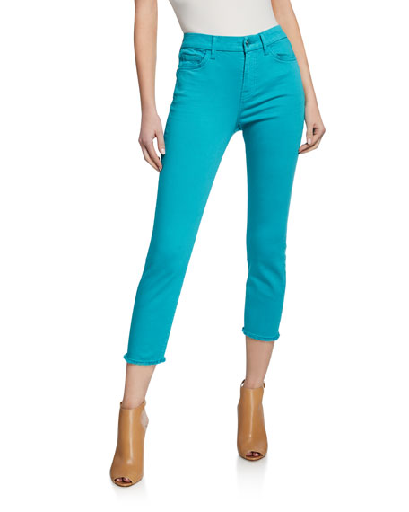 Image 1 of 3: Cropped Skinny Jeans with Frayed Hem