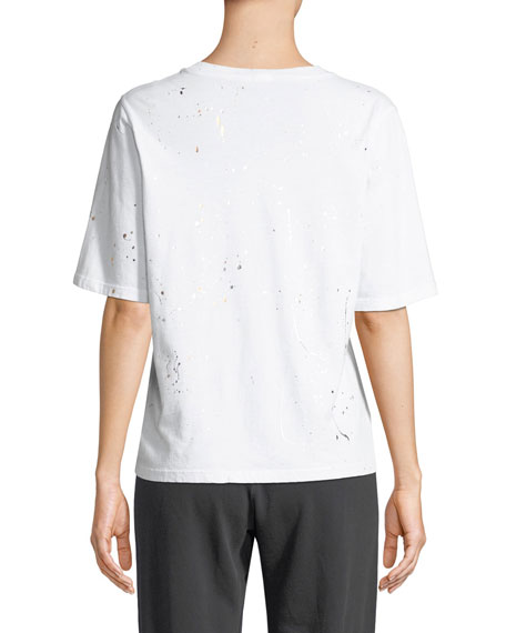 Monrow Oversized Crewneck Tee with Foil Splatter