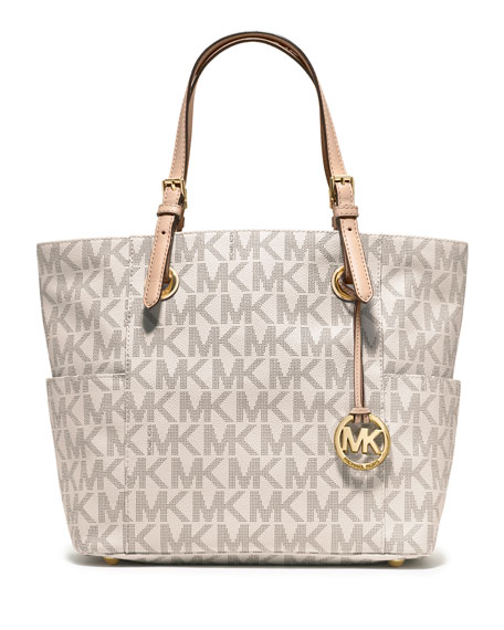 michael michael kors jet set logo monogram item tote bag vanilla. Black Bedroom Furniture Sets. Home Design Ideas