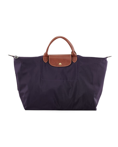 Le Pliage Large Monogram Travel Tote Bag, Purple