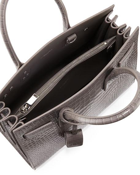 Sac de Jour Baby Crocodile-Embossed Leather Satchel Bag