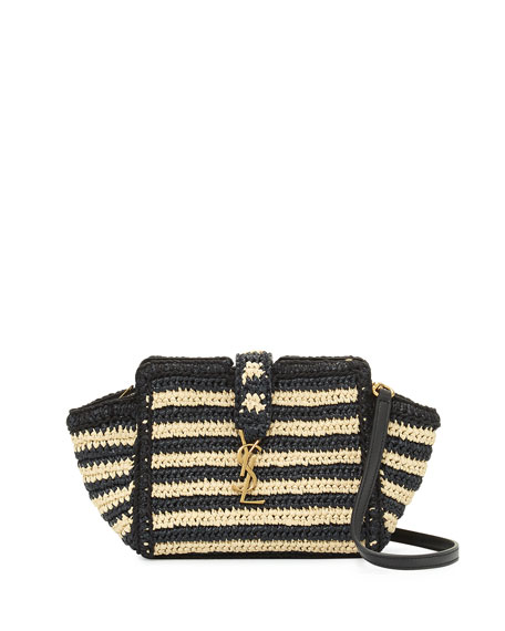 Saint Laurent Striped Raffia Small Cabas Crossbody Bag,