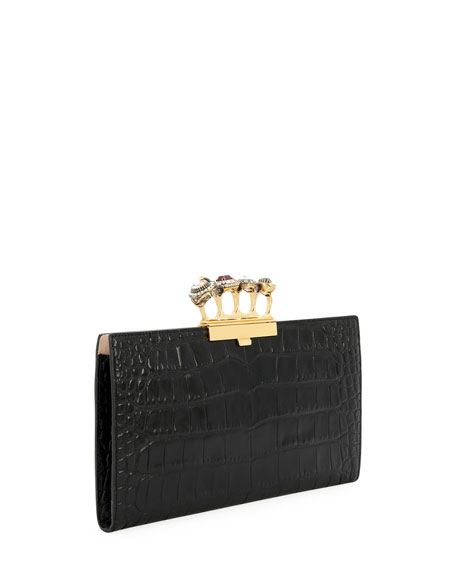 Image 3 of 4: Knuckle Silky Crocodile-Embossed Flat Clutch Bag