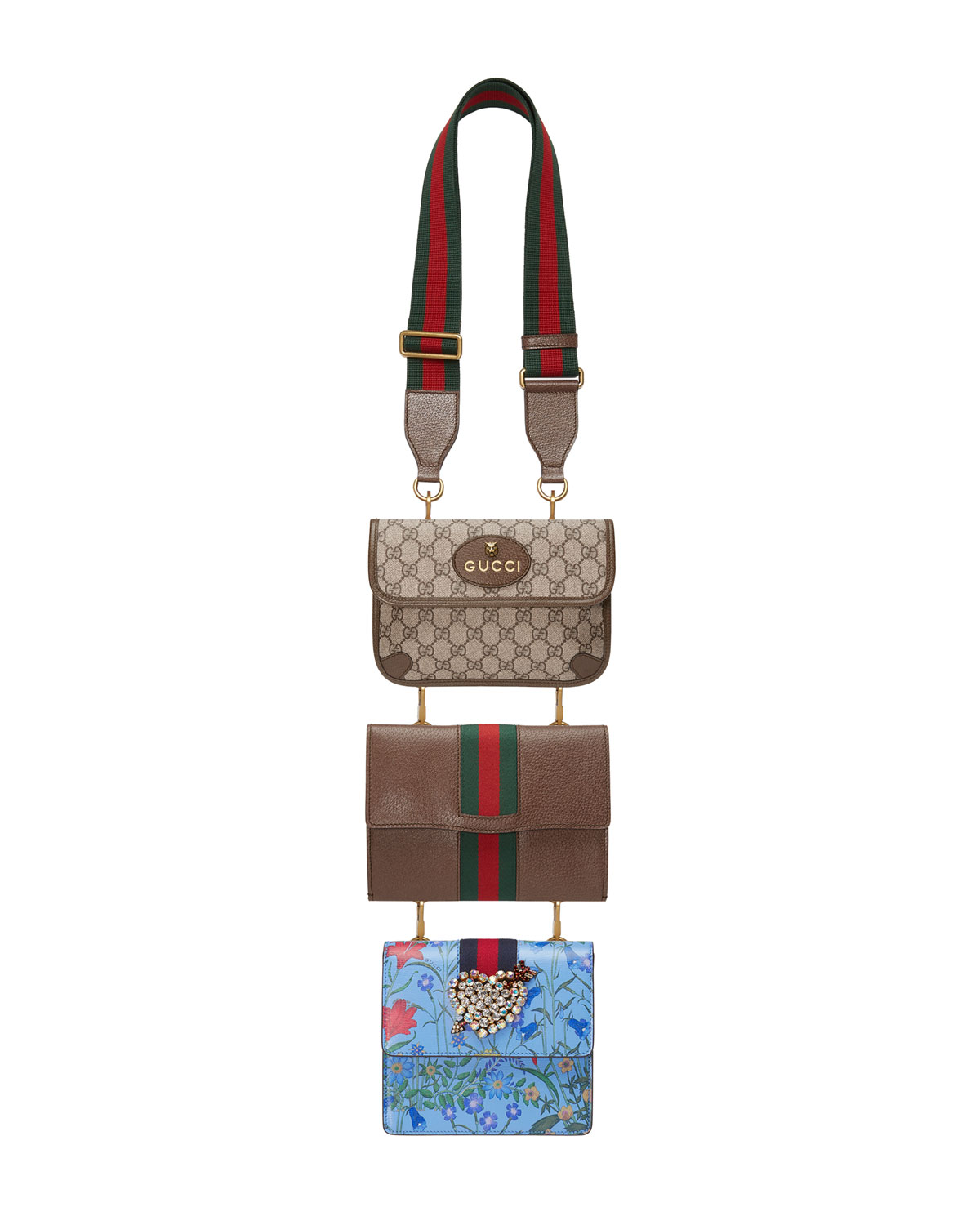 facf849a13afcd Gucci Totem Three-Piece Shoulder Bag | Neiman Marcus