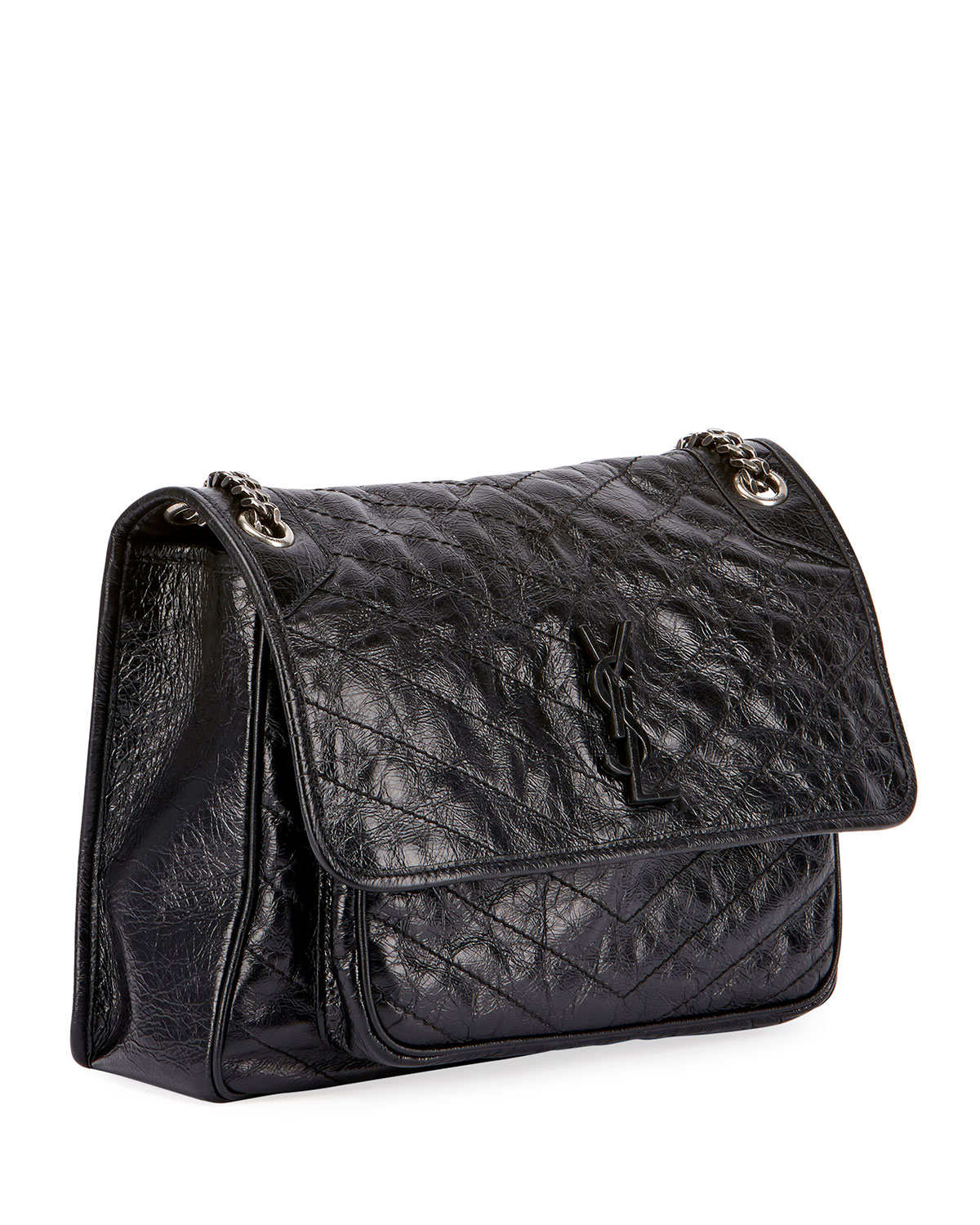 846b8f1097 Saint Laurent Niki Medium Monogram YSL Shiny Waxy Quilted Shoulder Bag |  Neiman Marcus