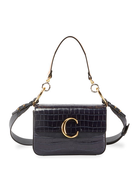 Image 1 of 5: C Croc-Embossed Leather Shoulder Bag