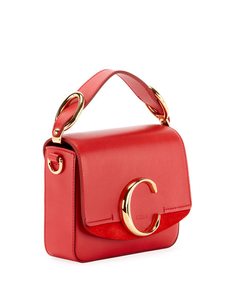 Image 3 of 4: Chloe C Mini Shiny Leather Shoulder Bag