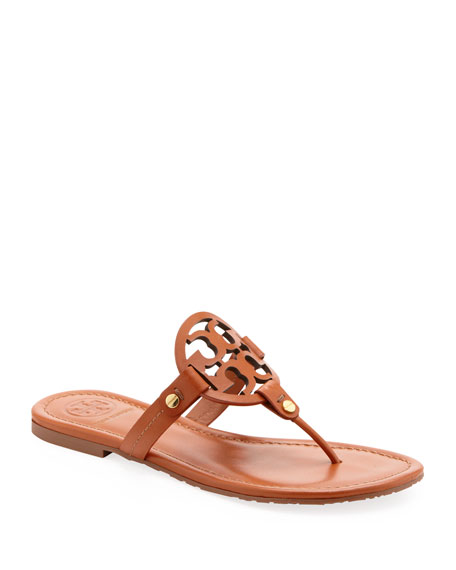 Image 1 of 4: Miller Medallion Leather Flat Thong