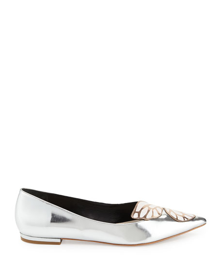 Bibi Butterfly Metallic Leather Flat