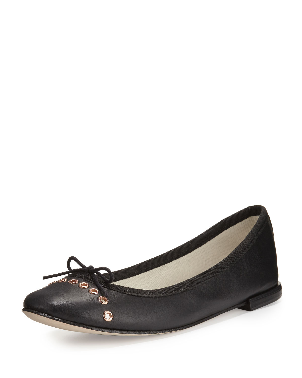 clearance with credit card Neiman Marcus Grommet Leather Flats discount shop for URtEEoxcmX