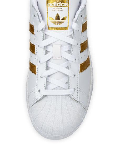 Superstar Original Fashion Sneaker, White/Gold
