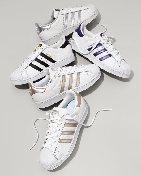 Image 2 of 6: Adidas Superstar Classic Sneakers, Black/White