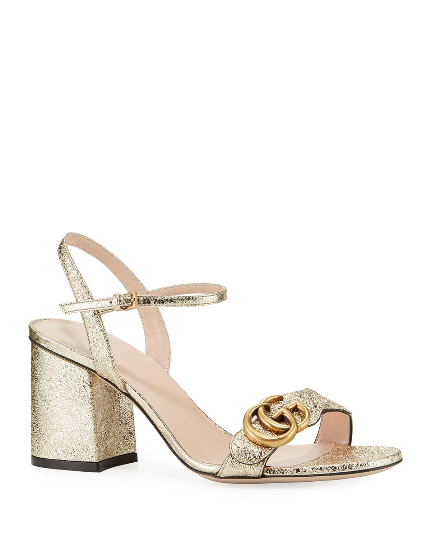 6f9ef5f095cb6 Gucci 75mm Marmont Metallic Sandal   Neiman Marcus