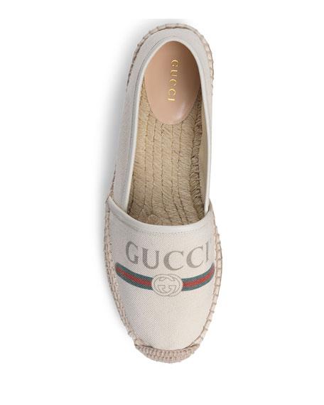 Gucci-Print Canvas Espadrille Flat
