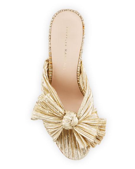 Loeffler Randall Penny Pleated Metallic Slide Sandals