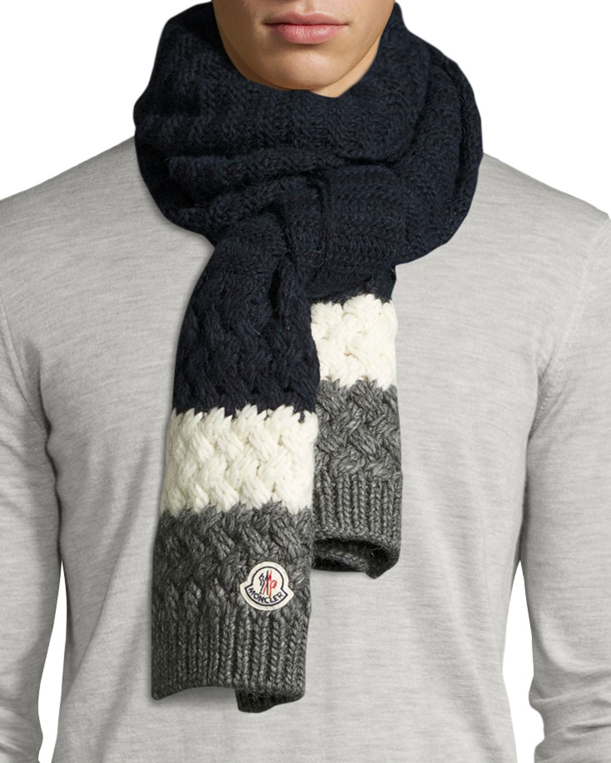 Moncler Cashmere Mixed Knit Scarf Neiman Marcus