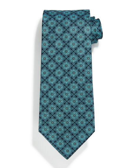 Square Medallion-Print Silk Tie