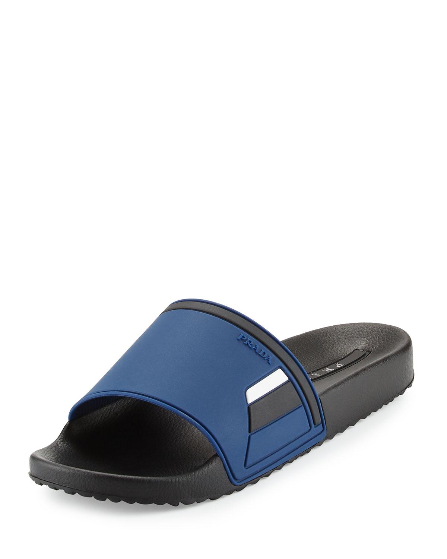 7f5ceb998310 Prada Men s Colorblock Rubber Slide Sandal