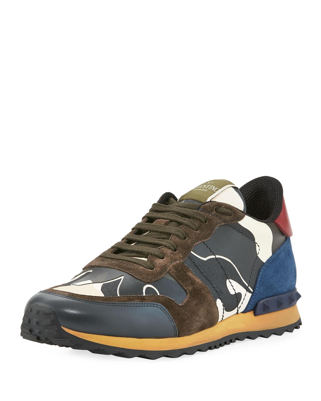 e663697862c4b Valentino Garavani Men's Rockrunner Camo Sneakers | Neiman Marcus
